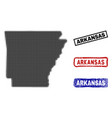 arkansas state map in halftone dot style with vector image