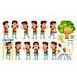 asian girl kindergarten kid poses set vector image vector image