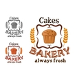 Bakery shop sign with cupcake and wheat vector image