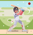 batsman hits ball batting sport game cricket vector image vector image