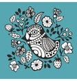 Black and white bird and flowers vector image vector image