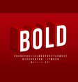 bold strong font modern 3d alphabet red isometric vector image vector image