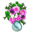 bouquet of pink and white flowers in a vase vector image vector image