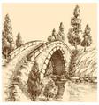 bridge landscape vector image vector image