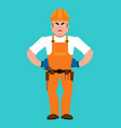 builder angry worker in protective helmet evil vector image vector image
