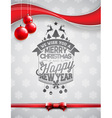 Christmas typographic design with shiny glass ball vector image vector image