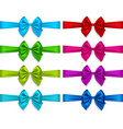 colorful bows set isolated on white background vector image vector image