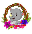 cute rhino in root of tree frame with flower vector image vector image