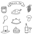 Doodle of Hand draw thanksgiving object vector image vector image