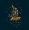 eagle in golden style on dark background design vector image vector image