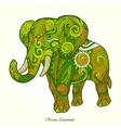 Elephant green ornament ethnic vector image vector image