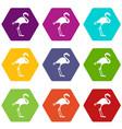 flamingo icon set color hexahedron vector image vector image