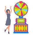 fortune wheel and winner lady casino sign vector image vector image
