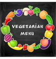 Fruits and vegetables on a chalkboard vector image vector image