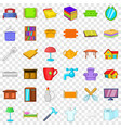 furniture in house icons set cartoon style vector image vector image