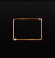 golden light rectangle frame with sparkling stars vector image