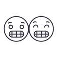 grimacing emoji concept line editable vector image vector image