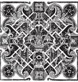 hand drawn floral pattern tile background vector image