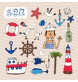 Hand drawn Nautical Elements vector image