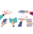 hands holding books cartoon men and women reading vector image vector image