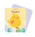 happy easter cute chicken on decorative eggs vector image