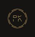 initial letter pk logo design template pk letter vector image vector image