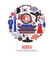 korean customs and landmarks in one circle vector image