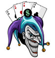 laughing angry joker character joker head face vector image vector image