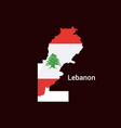lebanon initial letter country with map and flag vector image