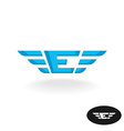 Letter E with wings logo Blue colors wide style vector image vector image