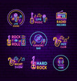 music neon label set vector image vector image