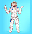 pop art spacewoman points to sales vector image vector image