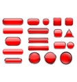 red glass buttons collection of 3d icons with and vector image vector image