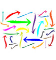 set different grunge brush arrows colorful vector image vector image