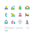 set simple line icons uae vector image vector image
