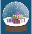 snow globe with presents glass ball xmas toy vector image