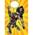 The fight of a man and armed robot vector image vector image