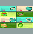 tropical banners set with push buttons promo group vector image vector image