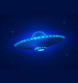 ufo in dark blue night sky vector image