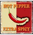 Vintage extra spicy poster chili pepper vector image