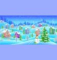 winter landscape with snowcovered houses snowman vector image vector image