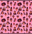 women seamless pattern diverse woman face vector image