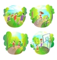 outdoor sports Football running basketball and vector image
