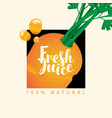 banner with carrot and inscription fresh juice vector image