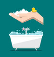 bathroom with woam in hand and bathtub vector image