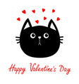 black cat head icon red heart set cute funny vector image vector image