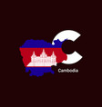cambodia initial letter country with map and flag vector image