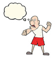 cartoon violent man with thought bubble vector image