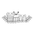 christmas gifts boxes with wreath vector image vector image