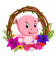 cute hippo in root of tree frame with flower vector image vector image